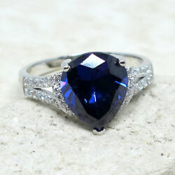 GORGEOUS 3 CT PEAR TANZANITE BLUE 925 STERLING SILVER RING SIZE 5-10