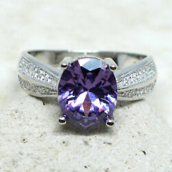 MAGNIFICENT 2.5 CT OVAL AMETHYST PURPLE 925 STERLING SILVER RING SIZE 5-10