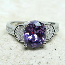 UNIQUE 2.5 CT OVAL AMETHYST PURPLE 925 STERLING SILVER RING SIZE 5-10