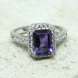 FABULOUS 1.5 CT GENUINE AFRICAN AMETHYST 925 STERLING SILVER RING SIZE 5-10