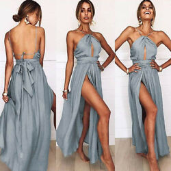 Backless Women Sexy Evening Dress Multi Slit Bridesmaid Formal Long Sun Dresses $19.75