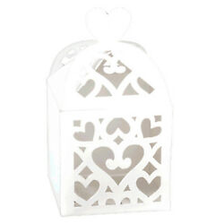 WHITE CUTOUT LANTERN FAVOR BOXES 50 Wedding Baby Shower Party Supplies Treat $16.99