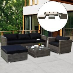 6PCS Outdoor Patio Rattan Wicker Sofa Couch Furniture Set w 2 Set Cushion Cover