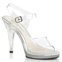 4.5quot; Clear Glitter Bikini Contest Fitness Competition Heels Shoes size 7 8 9 10 $47.95