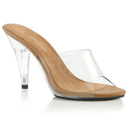 4quot; Clear Nude Bikini Contest Fitness Pageant Competition Heels Shoes Womans 8 9 $43.95