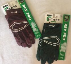 NWT Cutters Football Gloves S450 Rev Pro C TACK S M L amp; XL Drk Green or Maroon $19.99