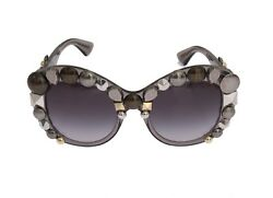 NEW $1050 DOLCE & GABBANA Sunglasses Gray Butterfly DG4266 29168G GOLD EDITION