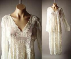 Victorian 20s Bohemian Maxi Gown 265 mv Ivory Embroidered Sheer Lace Dress S M L $34.98