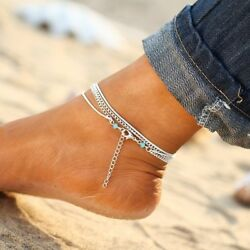 Jewelry Foot Silver Bead Chain Anklet Ankle Bracelet Barefoot Sandal Beach