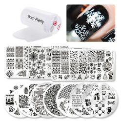12Pcs BORN PRETTY Christmas Nail Art Stamping Plate Image Template Stamper Set