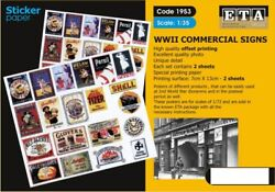 ETA Diorama 1 35 WWII Commercial Signs Sticker 2 sheets