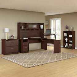 Cabot L Shaped Sit to Stand Desk with Hutch and Storage in Cherry