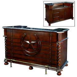 6' FT Tuscany Carved Solid Wood Western Home Pub BarMarble Top