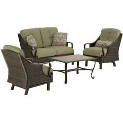 Hanover VENTURA4PC Ventura 4-Piece Steel Framed Resin Wicker Outdoor Seating Set