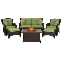 Hanover Outdoor Strathmere 6-Piece Lounge Set In Cilantro Green with Fire Pit