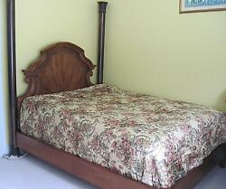 Henredon Queen Size Contemporary With Two Metal Posts Wood Headboard Bed $600.00