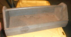 Antique Vintage Handmade Primitive Wooden Tool box storage Caddy w Wood Handle