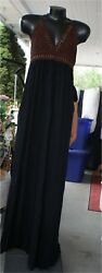 L SPACE Black BROWN CROCHET NWT Swim Cover Up Trendy Maxi Beach Dress L $85.00
