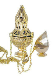 Sacred Vessel Brass Ornate Censer on 36 In Chain with Incense Boat Set 10 Inch