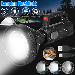 Super Bright LED Flashlight USB Rechargeable Searchlight Torch Spotlight 3 Modes $13.98