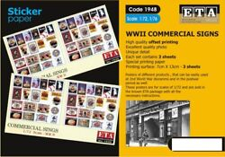 ETA Diorama 1 72 1 76 WWII Commercial Signs Sticker 3 sheets