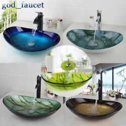 US Tempered Glass Oval Basin Bowl Vessel Sink Mixer Waterfall Faucet Drain Set $82.00