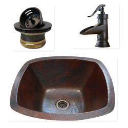 16quot; Rectangular Copper Bar Prep Sink with 2quot; Mini Strainer Drain and ORB Faucet $249.95