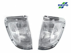 DEPO Front Chrome amp; Clear Corner Lights Lamps Fit For 95 96 Toyota Tacoma 2WD $39.96