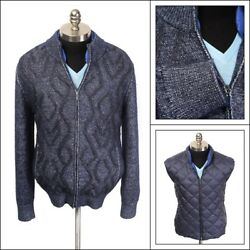 $5K NWT Zilli Navy Cashmere Knitted Jacket Sweater + Reversible Vest 60 50 4XL