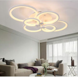 Modern Circle Ring Ceiling Lamp Acrylic Stepless Dimming LED Chandelier Fixtures $125.99