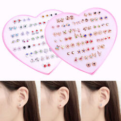 12 36 Pairs Plastic Ear Stud Earrings Set For Women Girls Daughter Gifts Jewelry C $2.49