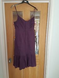 SIZE 12 PURPLE 100% COTTON SUNDRESS DAVID LAWRENCE FROM AUSTRALIA FULLY LINED