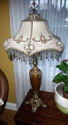 BEAUTIFUL Antique Lamp 1895 Custom refurbished beaded shade rewired ART NOUVEAU $599.99
