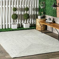 nuLOOM Braided Contemporary Modern Indoor Outdoor Area Rug in Ivory $61.99