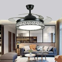 42quot; Ceiling Fan Retractable Blades LED Crystal Chandelier Light Remote Control $152.99