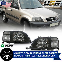 DEPO JDM Black Housing Headlights w Clear Corners For 1997-2001 Honda CRV CR-V $144.95