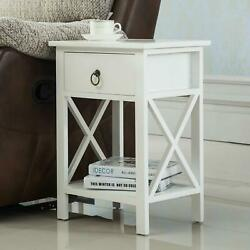 White Night Stand End Side Bedside Table Organizer Wood New Design With Drawer $38.95