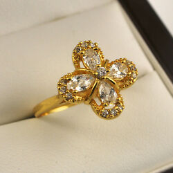24ct Yellow Gold Filled Clear Cubic Zirconia Flower Dress Ring UK Size P  F2