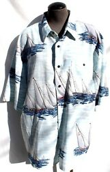 Vintage Men's Billion Bay Sail Boats Button Down Short Sleeve Beach Shirt XL