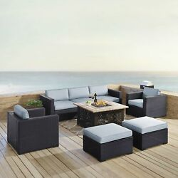 Biscayne 7 Piece Outdoor Wicker Set with Mist Cushions