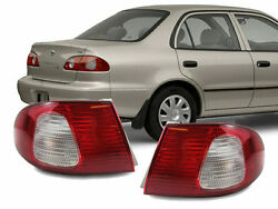 JDM Red  Clear Rear Outer Pair Rear Brake Tail Lights for 98-02 Toyota Corolla $63.95
