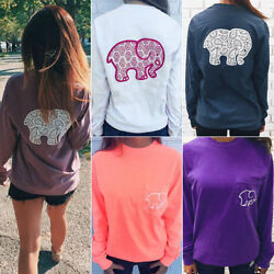 Womens Elephant Print T-shirt Blouse Long Sleeve Pullover Casual Sports Tee Tops