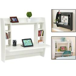 Computer Desk Work Table Floating Wall Mounted Home Office with Storage Shelves $92.90