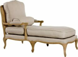 French Country Grey Linen Oak Wood Chaise Lounge55'' x 38''H