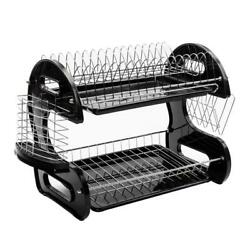 2 Tier Dish Drying Rack Stainless Steel Drainer Kitchen Storage Space Saver NEW $23.99