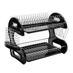 2 Tier Dish Drying Rack Stainless Steel Drainer Kitchen Storage Space Saver NEW $18.90