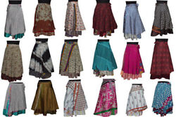 5 Pcs Indian Wrap Around Skirt Wholesale lot Printed Reversible Two Layer  $33.99