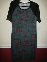LuLaRoe Large Julia Dress Black sleeves and colorful quot;circuitquot; print NWT