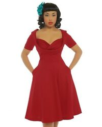 1950s Lindy Bop Sloane Red Swing Pinup Retro  Dress Nwtgs