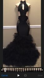 Preowned Black prom dress size small 6 foot train